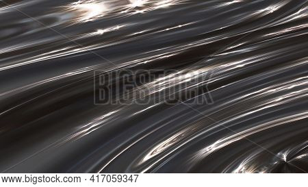 Background Movement Of Abstract Gray Matter In 3d. Waves Of Lines Of Unreal Space.