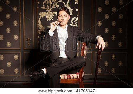 Woman Smoking A Cigar, An Old-fashioned Shot