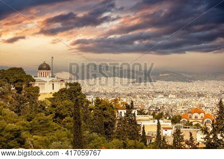 Athens, Greece. National Observatory View From Plaka Streets.