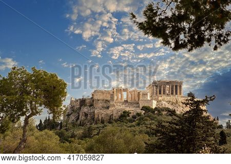 Athens, Greece, Acropolis Hill, Blue Cloudy Sky Background