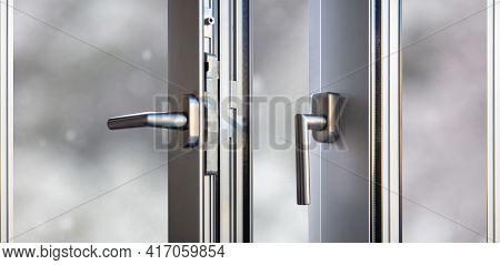 Aluminum Door Window Open Closeup View, Blurry Background