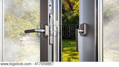 Aluminum Door Window Open Closeup View, Nature Background Outdoors