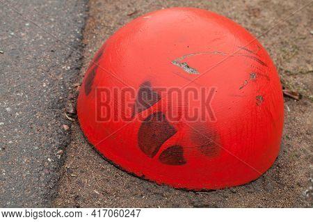 Red Concrete Anti-parking Hemisphere-shaped Bollard, Close Up Photo