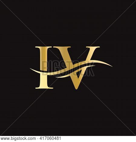 Water Wave Iv Logo Vector. Swoosh Letter Iv Logo Design For Business And Company Identity.