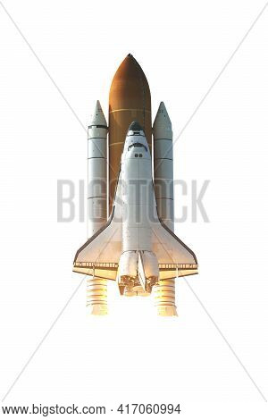 Space Shuttle Isolated On White Background With Clipping Path. Elements Of This Image Furnished By N