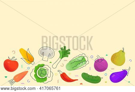 Simple Mockup Vector Design With Various Multicolored Fruits And Vegetables Depicted On Beige Backgr