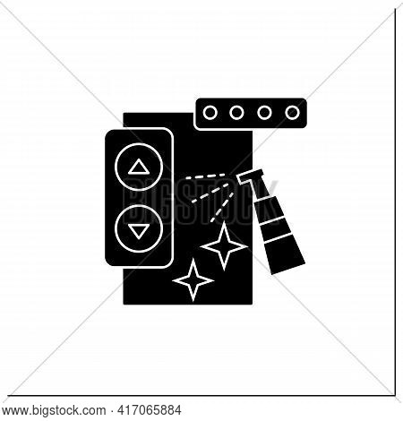 Elevator Disinfecting Glyph Icon. Public Places Sanitizing. Surface Disinfection. Safety Space And P