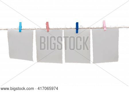 Paper Cards Hanging On The Rope, Isolated On White. Mockup