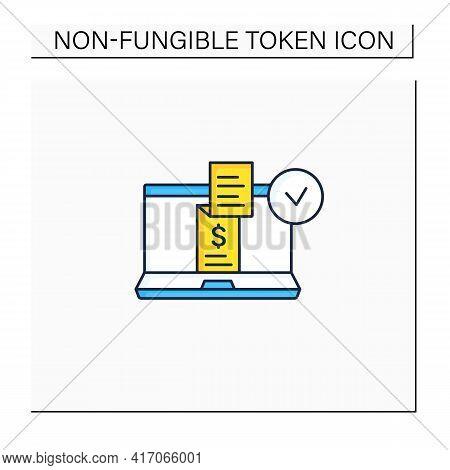 Digital Receipt Color Icon. E Receipt. Application Inform Customers Of Rebates, Discounts. Sent Via