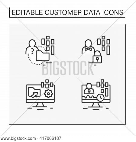 Customer Data Platform Line Icons Set. Real-time Client, Anonymous, Customer Data Concepts. Isolated