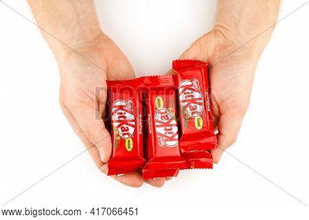 Lviv, Ukraine - April 08, 2021: Kitkat Mini Chocolate In Hand