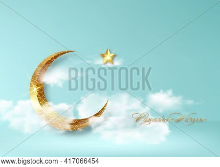 Ramadan Kareem 2021 Banner, Blue Sky With White Clouds Background Vector Design Illustration. Gold H