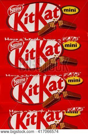 Lviv, Ukraine - April 08, 2021: Kitkat Mini Chocolate Bar In The Package