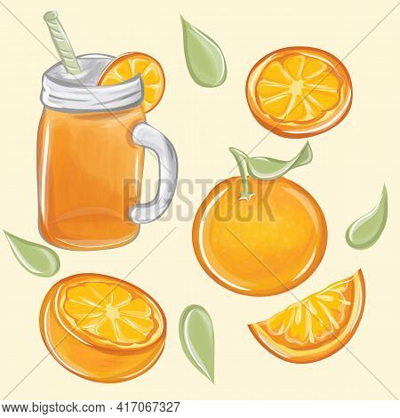 Citrus Fruit. Natural Orange Juice In A Glass. Fresh Squeezed Juice With Cut Slice. Healthy Organic