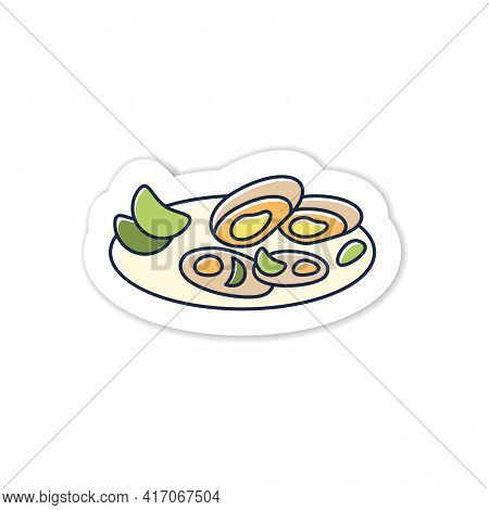 Asari Clams Sticker Icon.fried In Butter Clams On Plate. Traditional Dish Badge For Designs.spring J