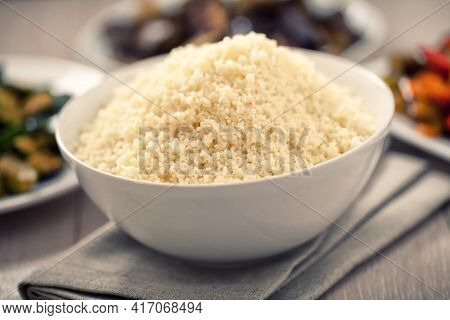 Couscous Whit Mixed Vegetables. High Quality Photo.