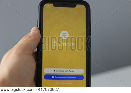 London Canada, February 21 2021: Editorial Illustrative Photo Of The Online Dating App Bumble. Bumbl