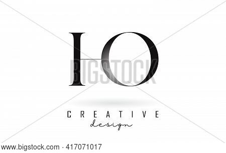 Ho H O Letter Design Logo Logotype Concept With Serif Font And Elegant Style. Vector Illustration Ic