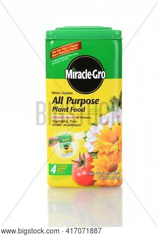 IRVINE, CALIFORNIA - JUNE 26, 2014: A box of Miracle-Gro Al Puropse Plant Food. From Scotts an industry leader in the lawn and garden market.