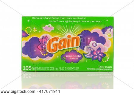 IRVINE, CALIFORNIA - MAY 22, 2019:  A Package of Gain Moonlight Breeze Dryer Sheets.