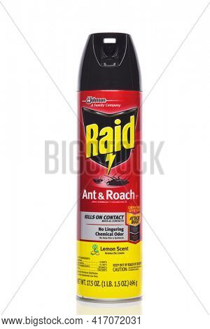 IRVINE, CALIFORNIA - 4 OCT 2019: An aerosol can of Raid Ant and Roach insecticide, from SC Johnson.