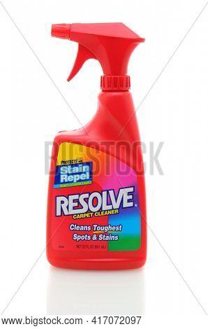 IRVINE, CA, JAN 31, 2011: Single 22oz bottle of Resolve Carpet Cleaner on a white background.