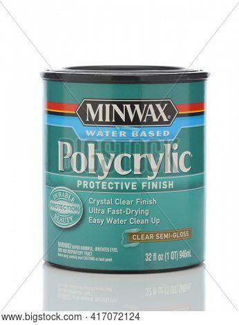 IRVINE, CALIFORNIA - MAY 22, 2019:  A can of Minwax Water Based Polycrilic Protective Finish, clear semi-Gloss.