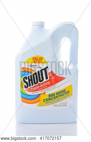 IRVINE, CA - AUGUST 15, 2016: A Refill bottle of Shout Triple Acting Stain Remover. The laundry pre-wash is from SC Johnson.