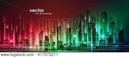 Modern City Life Abstract Background Design. City At Night, Conceptual Vector Illustration.