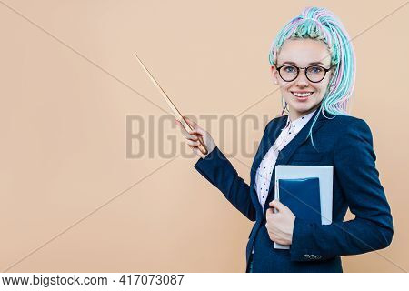 Caucasian College Woman Student; Education Portrait Of Serious, Stressed University Woman Student Ca