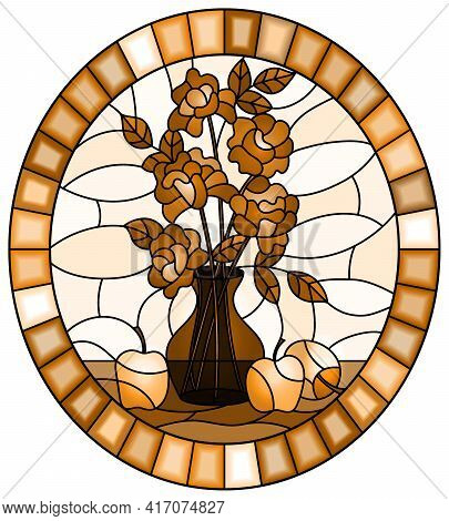 Illustration In Stained Glass Style With Bouquets Of Roses Flowers In A Vase And Apples On Table On