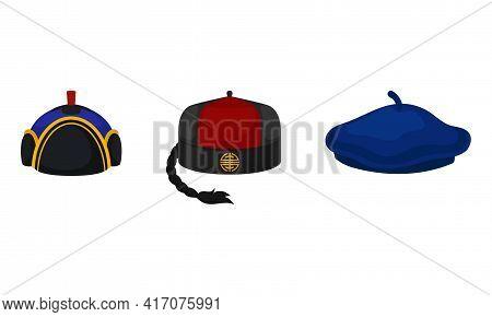 Various National Headdress With Beret And Tartar Hat Vector Set