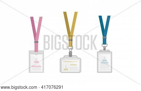 Name Badges Or Name Tags Made Of Lightweight Plastic With Lanyard For Wearing Around Neck Vector Set
