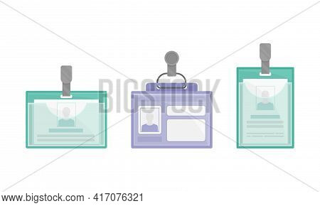 Name Badges Or Name Tags Made Of Lightweight Plastic With Backing For Wearing On Clothing Vector Set