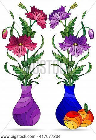 Set Of Illustrations In The Style Of Stained Glass With Floral Still Lifes, Vases With Flowers Isola