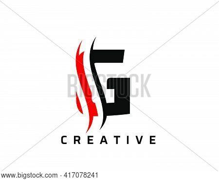 G Letter Swoosh Logo Design. Vector Lettering Illustration