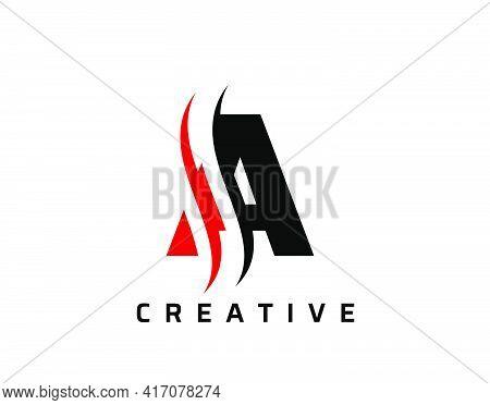 A Letter Swoosh Logo Design. Vector Lettering Illustration