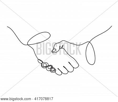 Continuous Line Drawing Of Handshake Business Agreement. Handshake Out Line Illustration.