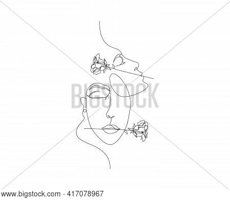 Continuous Line Of Surreal Faces , Drawing Of Faces And Rose Flower. Women' Faces In One Line Art St