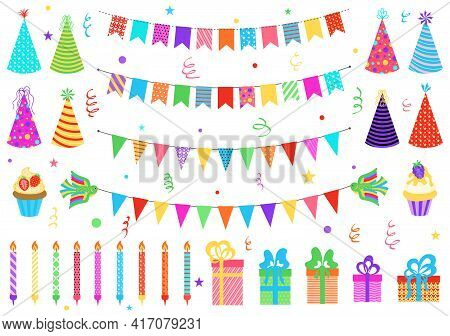 Set Of Birthday Party Elements. Party Bunting. Color Paper Triangular Flags Collected And Draped In