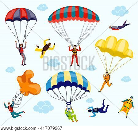 Collection Of Parachutists And Skydivers Isolated On White Background. Flat Vector Set Of Profession