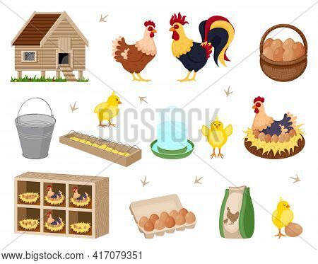 Chicken Coop Set. Illustration Of A Chicken Coop With Chicken Family
