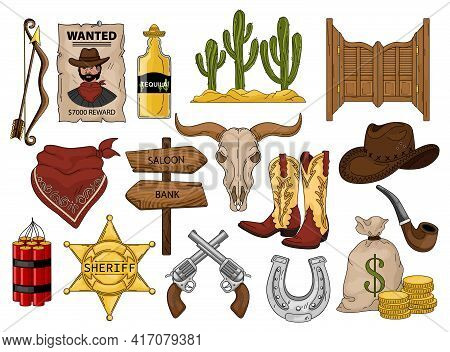 Wild West Vector Cartoon Set Icon. Vector Illustration Western On White Background. Cowboy American