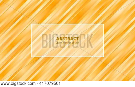 Abstract Bright Orange Striped Vector Background With Yellow And Orange Three Dimensional Shapes And
