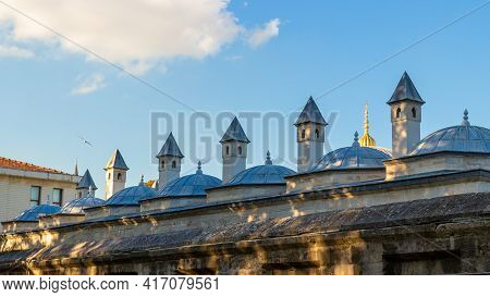 View On Roof Of The Sultanahmet Madrasa Against Blue Sky In Istanbul, Turkey