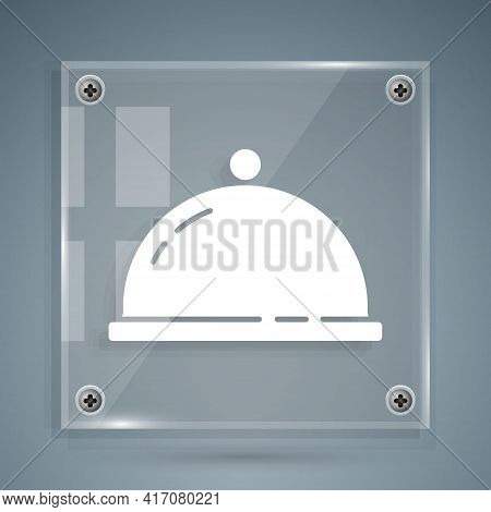 White Covered With A Tray Of Food Icon Isolated On Grey Background. Tray And Lid Sign. Restaurant Cl