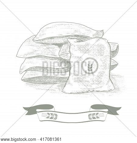 Bags Of Grain, Wheat. Old Style Illustration