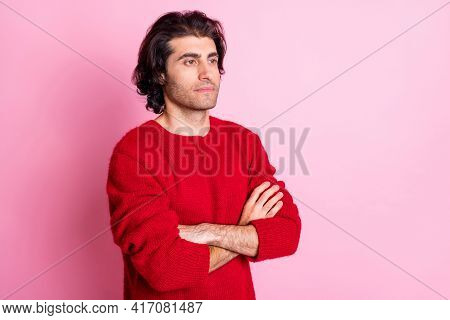 Photo Of Young Handsome Serious Bossy Strict Man With Crossed Hands Look Copyspace Isolated On Pink