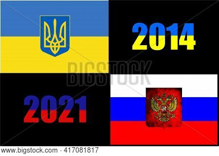 Ukraine National Flag Of With Lesser Coat Of Arms. Russian Federation National Flag With Coat Of Arm