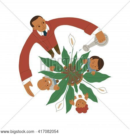 Father Watering A Spathiphyllum Plant With Three Flowers Top View, Children Are Hiding Among The Lea